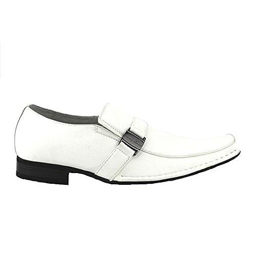 72c4c965c5 30%OFF Ferro Aldo Men s 19387 White Classic Belted Slip on Square Toe  Loafers Dress