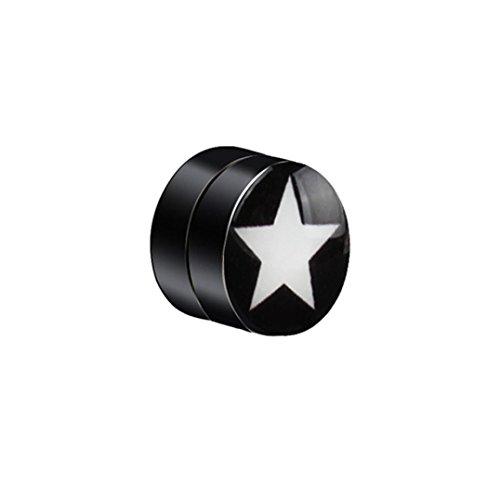 DDLBiz 1PC Mens Women Non Piercing Ear Stud Skull Flag Star Clip On Round Magnetic Earrings (Magnetic Round Earrings)