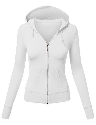 HATOPANTS Basic Long Sleeve Zipper Slim Fit Hoodied Jacket White Medium (Faux Fur Coat Limited Edition)