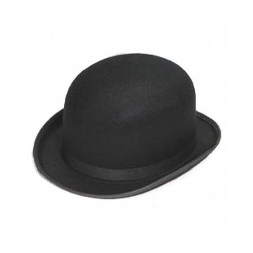 [Traditional Derby Hat Black Bowler Bob Felt Men Fashion Style Gentleman Costume] (90s Decade Costumes)