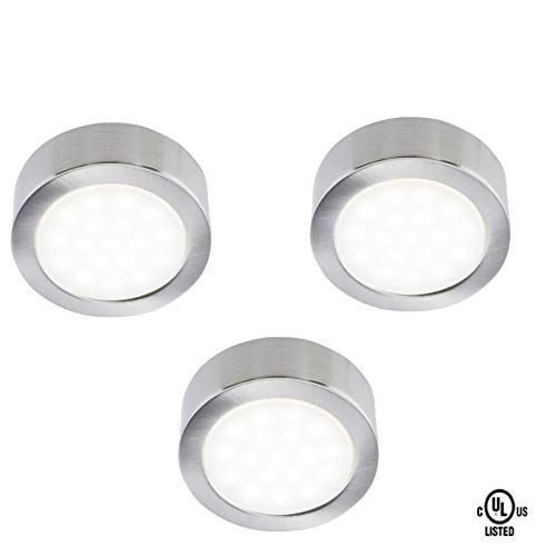 Siena LED Lighting Exclusive Silver Metal Cover LED Puck Light - Naturel White Light (3,000k) - Under Cabinet and Furniture - 120v/110v - Dimmable - Line-Voltage- Code 20838B (3 Pack)
