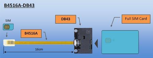 Bplus B4516A-DB43 : SmartCard to Standard SIM FPC adapter , SIM outside Notch, FPC Length 16cm