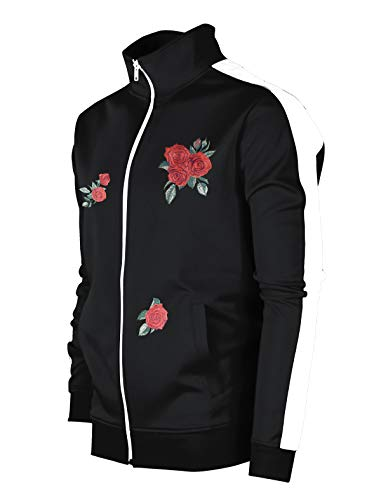SCREENSHOTBRAND-F11853 Mens Urban Hip Hop Premium Track Jacket - Slim Fit Side Taping Rose Embroidery Fashion Top-BK/WH-Large