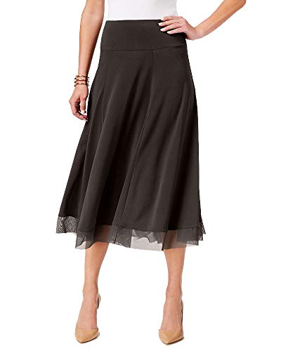 JM Collection Mesh-Hem A-Line Skirt (Espresso Roast, S)