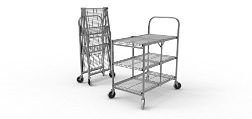 Luxor WSCC-3 Three Shelf Collapsible Wire Utility Cart