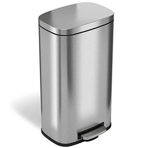 iTouchless SoftStep 8 Gallon Stainless Steel Step Trash Can with Odor Control System, 30 Liter Pedal Kitchen Trash Can Perfect...