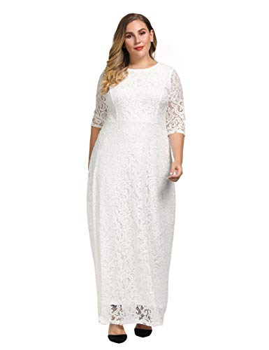 Chicwe Women's Plus Size Stretch Lace Maxi Dress – Evening Wedding Cocktail Party Dress White 2X
