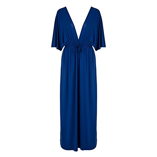 Blue Dress Empire Sleeve Kimono (JYUAN Women's Deep V-neck Kimono Sleeve Empire Waist Long Gown Maxi Dress (Asian Size XXL, Blue))