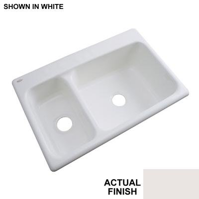 Thermocast Wyndham 33 In. x 22 In. Cast Acrylic Double Bowl Kitchen Sink, Fawn Beige