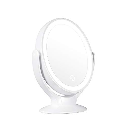 STARPIE Double-Sided Lighted Makeup Mirror Rechargeable, 1x/7x Magnification 360 Degree Swivel Dimmable Touch Screen, Portable Tabletop Illuminated Cosmetic Mirrors ... ()
