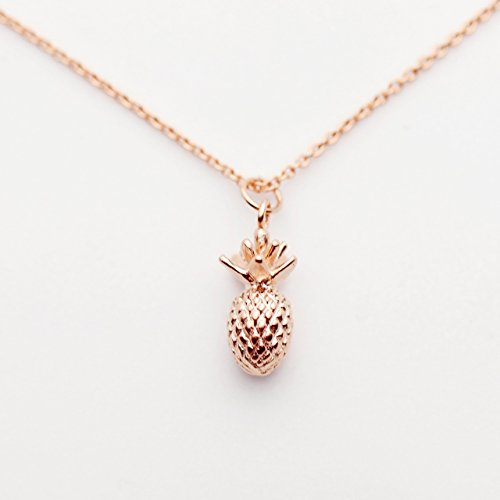 Rose Gold Pineapple Necklace Tropical Fruit Necklace 3D Pendant Necklace Friendship Pendant Necklace Summer Jewelry - - Pineapple Polished
