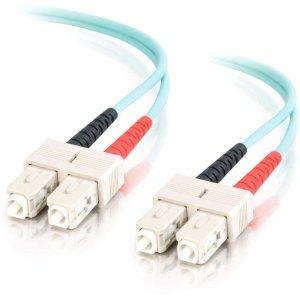 - C2G 11016 OM3 Fiber Optic Cable - SC-SC 10Gb 50/125 Duplex Multimode PVC Fiber Cable, TAA Compliant, Aqua (6.6 Feet, 2 Meters)