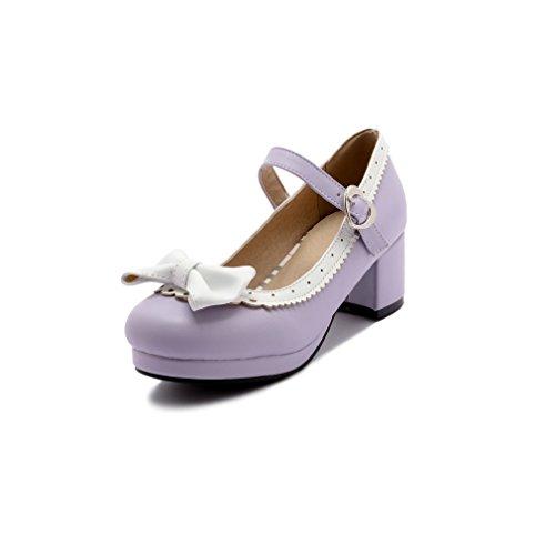 ELFY Women's Cute Lolita Cosplay Shoes Bow Mid Chunky Heel Mary Jane Pumps Purple 8