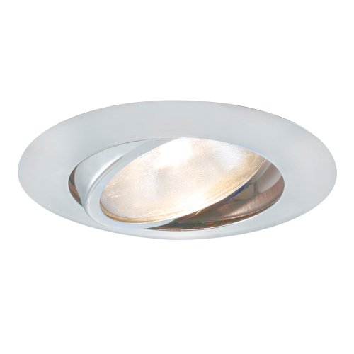 Jesco Lighting TM604WH 6-Inch Aperture Line Voltage Trim Recessed Light, Adjustable Gimbal Ring, White Finish - Line Voltage White Trim Ring
