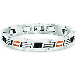 LAMBORGHINI Stainless Steel Carbon Fiber Bracelet w/ Orange Crystals