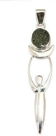 Moldavite Moon Goddess Sterling Silver Pendant