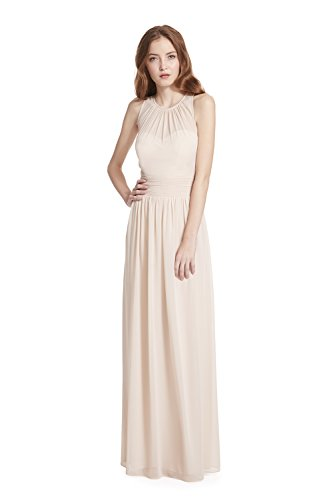 Samantha Paige Bateau Neckline Illusion Detail Pleated A-Line Chiffon Formal Dress,Champagne,10