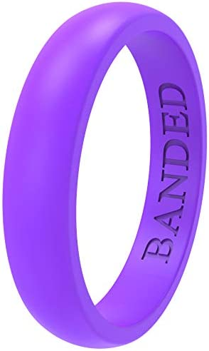 BANDED GLORY Silicone Wedding Ring for Men and Women Rubber Wedding Bands Skin Safe Soft 5.5mm and 8.7mm Wide