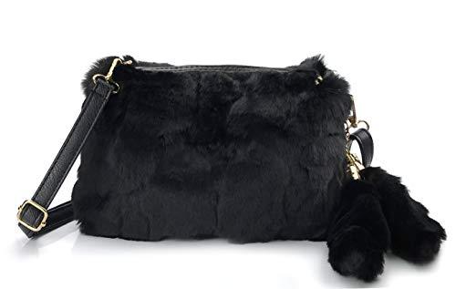 Hoxis Faux Fur Furry Crossbody Shoulder Handbag Clutch Purse with Pom Tail Keychian - Fur Womens Handbag