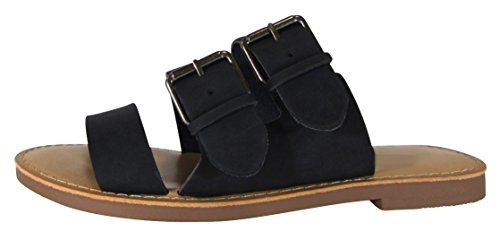 Cambridge Select Women's Slip-On Open Toe Buckled Triple Strap Flat Slide Sandal,9 B(M) US,Black Nbpu (Triple Strap Black)