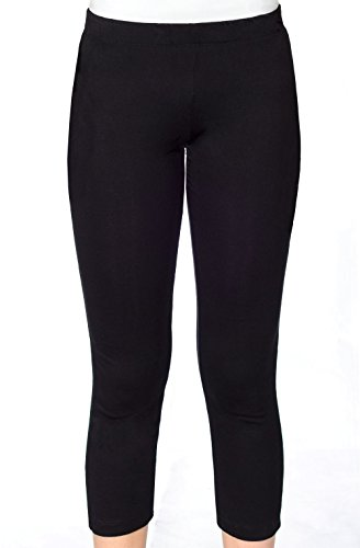 Kosher Casual's Women's Capri 7/8 Workout Leggings for Gym or Swim 2XL Black