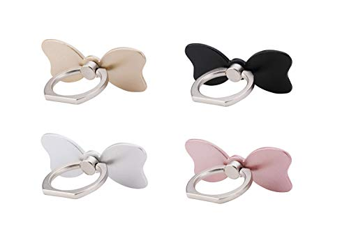 4 Pack Cell Phone Bow Ring Holder,Bowknot Phone Ring Kickstand,Universal 360 Rotation Cell Phone Finger Ring Grip for Almost All Phones,Pad