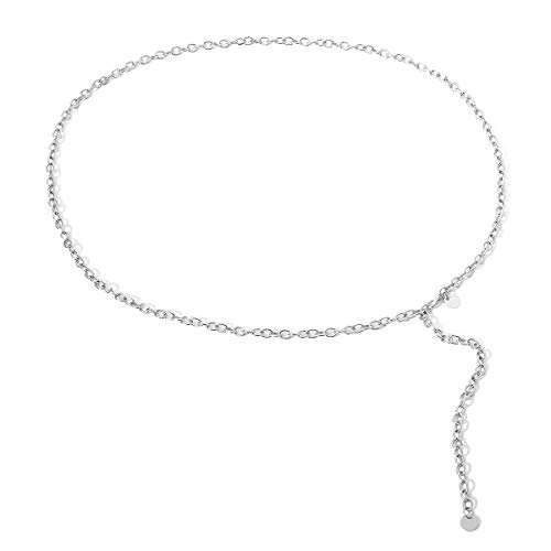 (SUNFANI Women Tassel Sexy Belly Waist Belt Metal Link Waist Chain Bikini Beach Waistbands Multilayer Body Chain Jewelry (Silvery) )