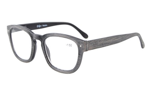 Eyekepper Reading Glasses Professor Vintage Style Spring Hinges Arms Anti-Grey - Grey Glasses