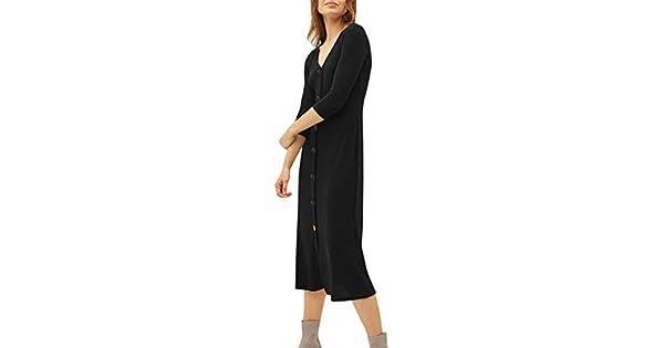 Amazon.com: Vestido casual para mujer 3/4 Slevee V cuello ...