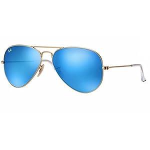 Ray Ban RB3025 112/17 55M Matte Gold/Multi Blue Mirror Aviator + FREE Complimentary Eyewear Care Kit