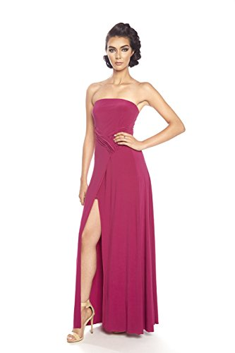 Posh Couture Women's Strapless Soft Jersey Evening Dress 12 Raspberry (Couture Jersey Gown)