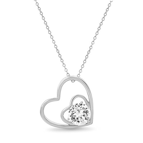 (Devin Rose Open Double Heart Pendant Necklace for Women made with Swarovski Crystal in 925 Sterling Silver)