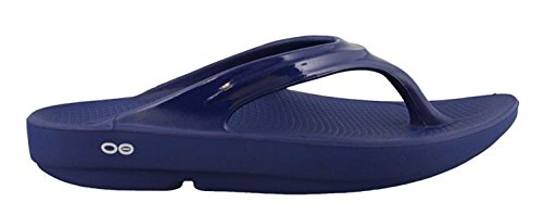 OOFOS Women's Oolala Thong Flip Flop, Navy/Navy, 10 M US by OOFOS