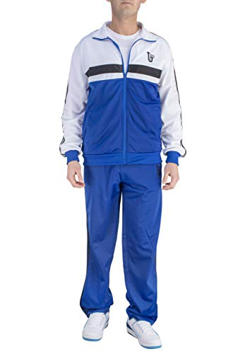 Vertical Sport Men's 2 Piece Jacket & Pants Slim Fit Jogging Track Suit JS14 (Large, Royal/White/Black)