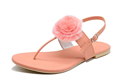 Myra Women's Pink Sling-back Flower-Accent Strap Flat Sandals    Casual Fashion Sling-back Flat Sandals for Women –