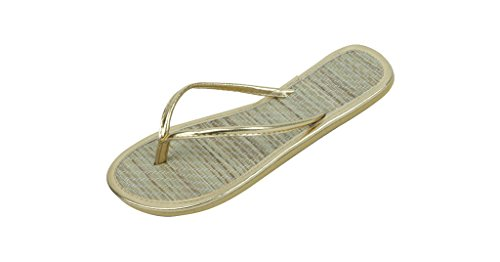 Bamboo Flip Flops Thong Sandals - SB Womens Faux Bamboo Metallic Thong Flip Flops Beach Sandals Gold 10