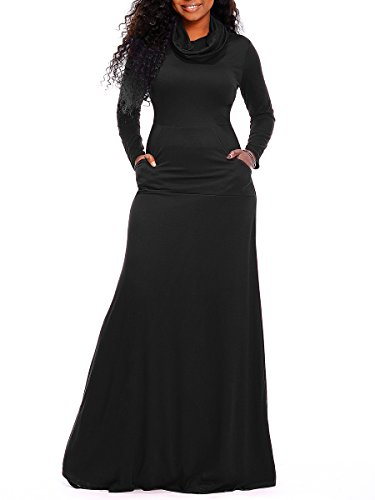 Voghtic Women's Cowl Neck Full Sleeve Plain Maxi Dress Casual Long Dresses with Pockets