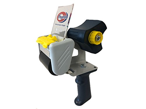 PEGAFAN Packing Tape Gun Easy To Tape Boxes, Seal Cartons, Easy Side Loading, Holds until 110 yd/91m Roll of 2'' Tape Best Tape Dispenser for Shipping, Packaging and Moving