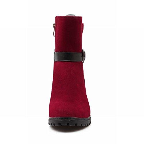 Carolbar Femmes Boucle Fermeture À Glissière Mode Simple Casual Mi-talon Bottes Courtes Rouge