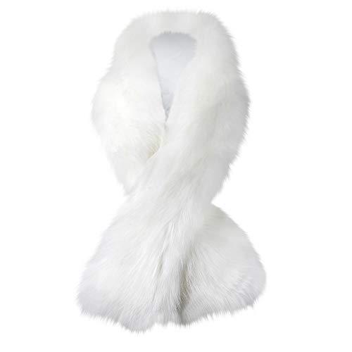 Caracilia Women Luxury Faux Fur Fashion Warm Long Scarf Shawl Wrap White 120CA97 (Fake White Stole Fur)