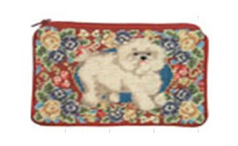 Petit Point Purse - 123 Creations C496CC-4.5x7 in. B-Floral Bichon Petit-point Cosmetic Purse