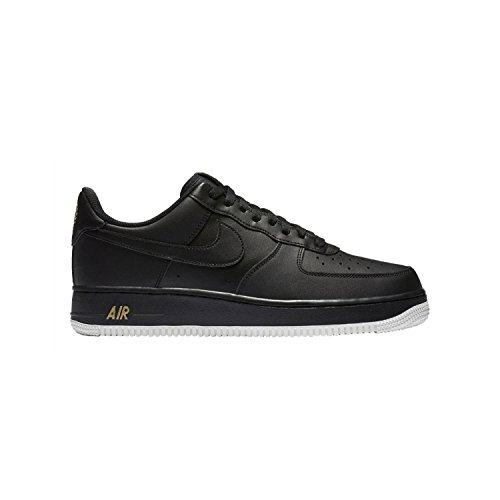 NIKE Mens Air Force 1 Low 07 Crest Basketball Shoes Black/Summit White/Metallic Gold AA4083-014 Size 10.5