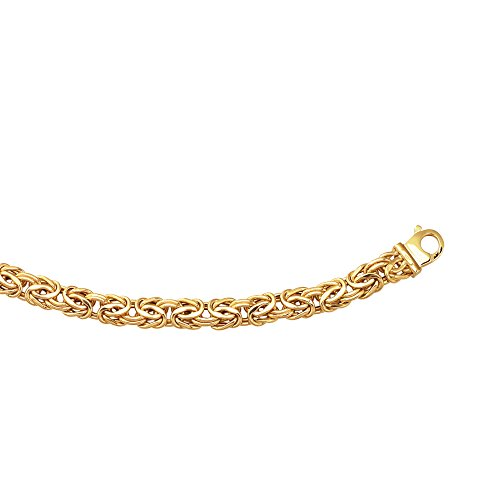 - 14K Yellow Gold 7.2mm Shiny Byzantine Fancy Bracelet 8
