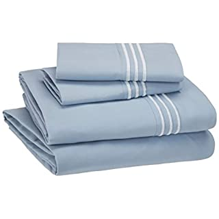 AmazonBasics Premium, Easy-Wash Embroidered Hotel Stitch 120 GSM Sheet Set - Queen, Dusty Blue