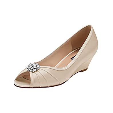 ERIJUNOR Womens Comfortable Low Heel Wedge Wedding Shoes Beige Size: 6