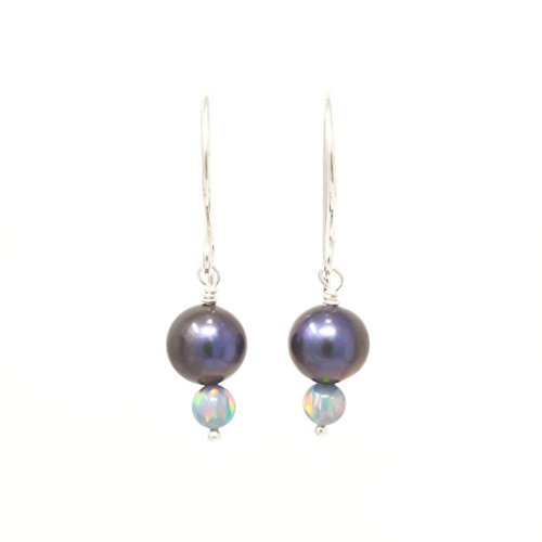 - Freshwater cultured peacock pearl sterling silver earrings with simulated opals