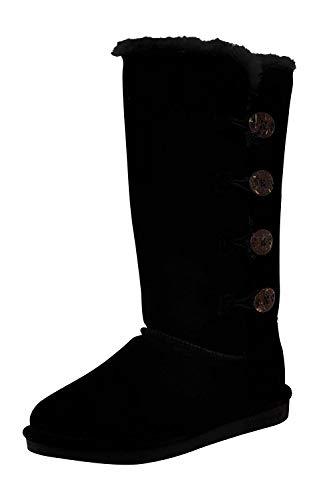 Bearpaw Women's Lori Black Ii Mid-Calf Suede Snow Boot - 9M (Ladies Snow Boots Size 9 Wide)