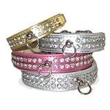 DD Design Celebrity Rhinestone Dog Collar, Small, Pink