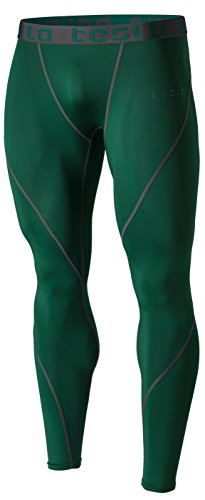 TM-MUP19-GRN_Medium Tesla Men's Compression Pants Baselayer Cool Dry Sports Tights Leggings - Bottoms Tights