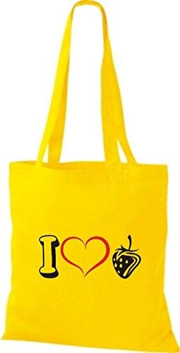 Shirtstown Bolso de tela Frutas I love Fresa amarillo